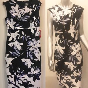 NWT Vince Camuto Navy Floral Scuba Sheath Dress